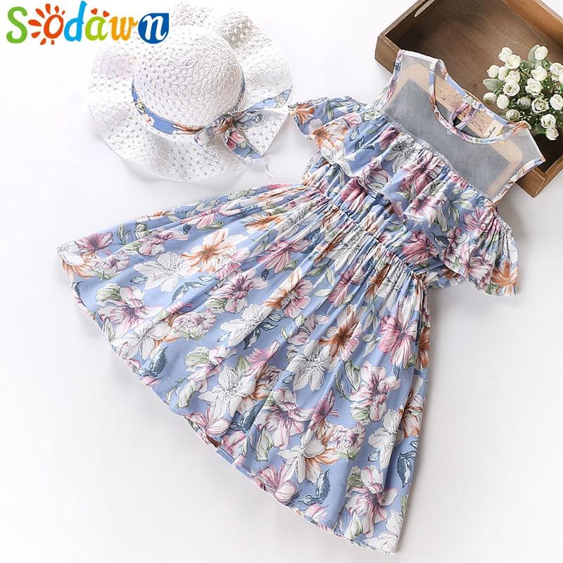 Sodawn Girls Clothes 2018 Summer Print Design Beach Style Fashion Party Princess Dress & Hat Children Clothes Girls Dress 5-12Y