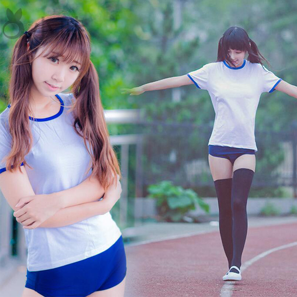 Cosplay Japanese Anime student Gym suit Blue briefs +tops/inner pants+tops Cos Clothes