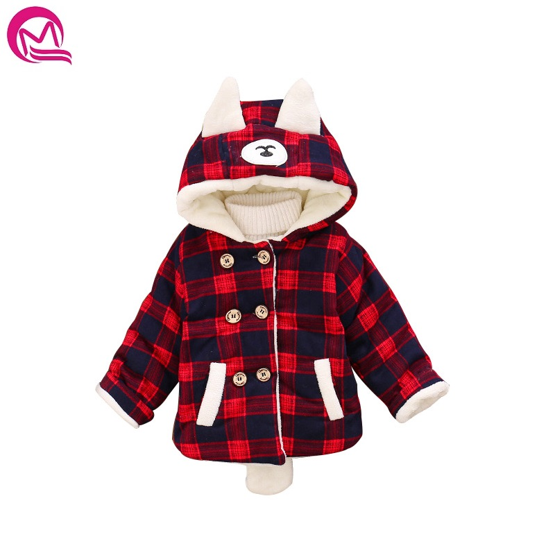 Baby Infant Winter Coat Christmas Warm Clothes Thicken Double Breasted kids Clothing Jacket Cat Ears Hooded Cotton Outwear Coats