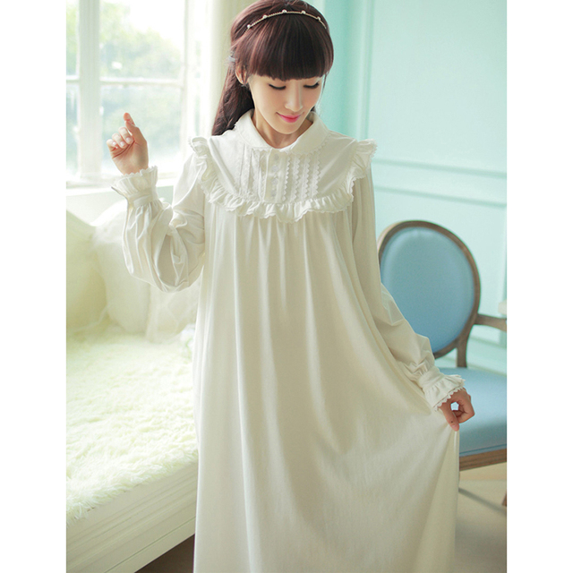 Princess White Pijama Nightgowns Full Sleeve Autumn Nightdress Thermal Knitted Cotton Women Sleepwear Ankle-length Night Gown
