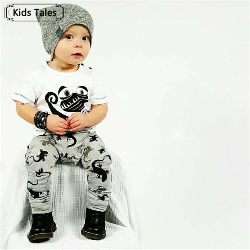 SY154 2018 New summer baby boy clothes cotton baby clothes fashion short sleeve t-shirt + pants 2 pcs newborn girl clothes set baby boy clothes monkey cotton t shirt plaid outwear casual pants newborn boy clothes baby clothing set