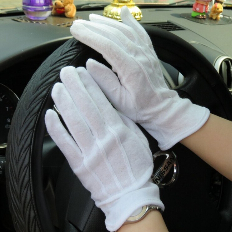 Spring And Summer Men's Sunscreen 100% Cotton Slip-resistant Gloves Male And Women's  Thin White Driver Etiquette Gloves