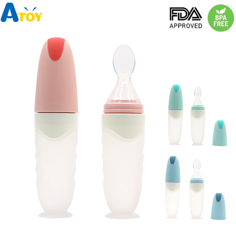 Safe Newborn Baby Feeding Bottle Toddler Silicone Squeeze Feeding Spoon Milk Cereal Bottle Baby Training Feeder Food Supplement