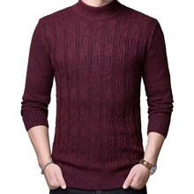 2018 New Autumn Mens Sweater Turtleneck Slim Fit Winter Pullover Men Solid Color Warm Knitted Sweater Men