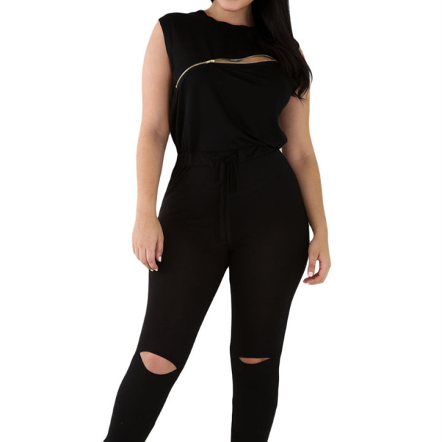 cdf4ad017393 summer casual creative zip line black stretchy jumpsuit sexy sleeveless  fitted stylish Stretchy Jumpsuits Long Pants Women
