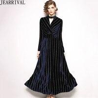 2018 Winter Long Velvet Dress Women Elegant O Neck Long Sleeve Ball Gown Elegant Vintage Maxi Dress Party Vestidos Robe Femme