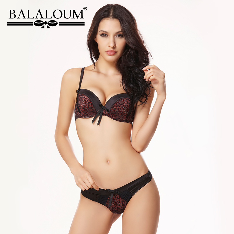 BALALOUM Sexy Floral Lace 3/4 Cup Push Up Bra Panty G-String Sets Women Brassiere Seamless T Back Thongs Underwear Lingerie Set