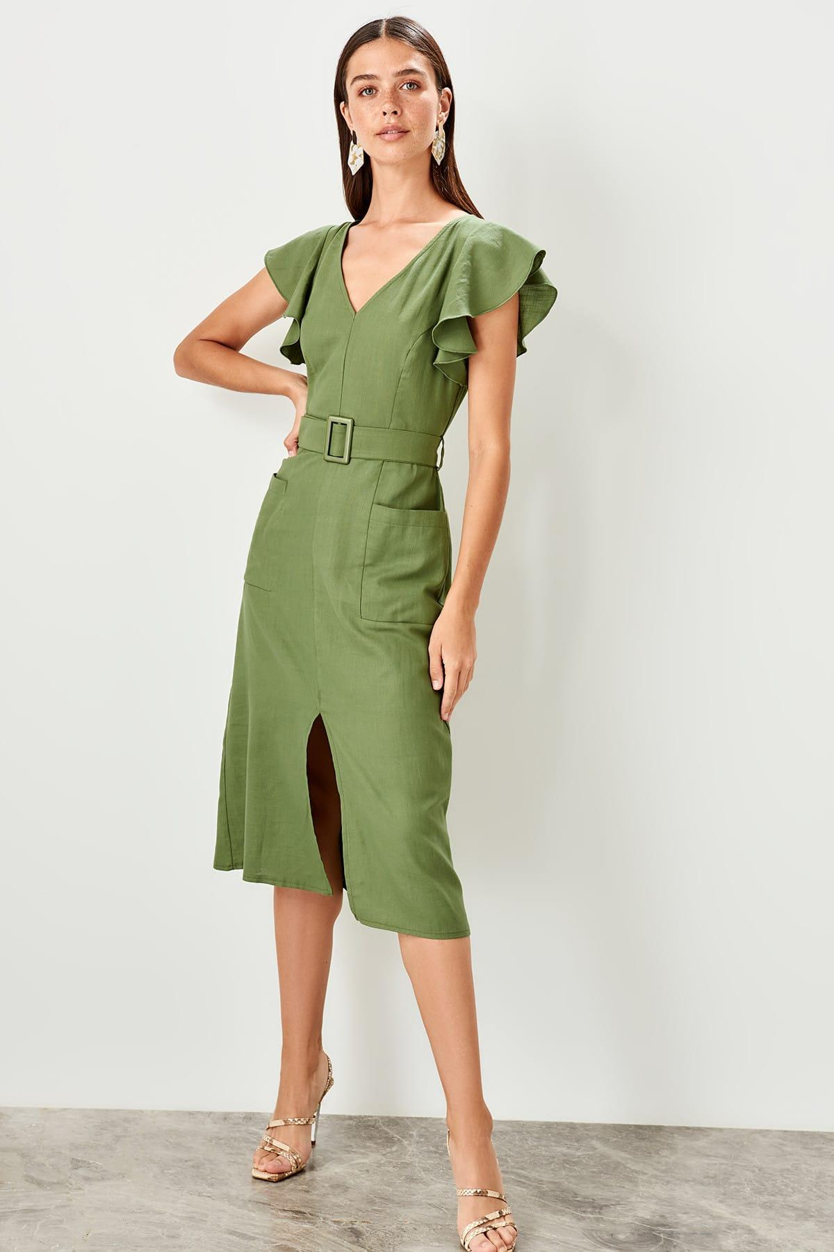 Trendyol Haki Handles Flounces Dress TWOSS19EL0233