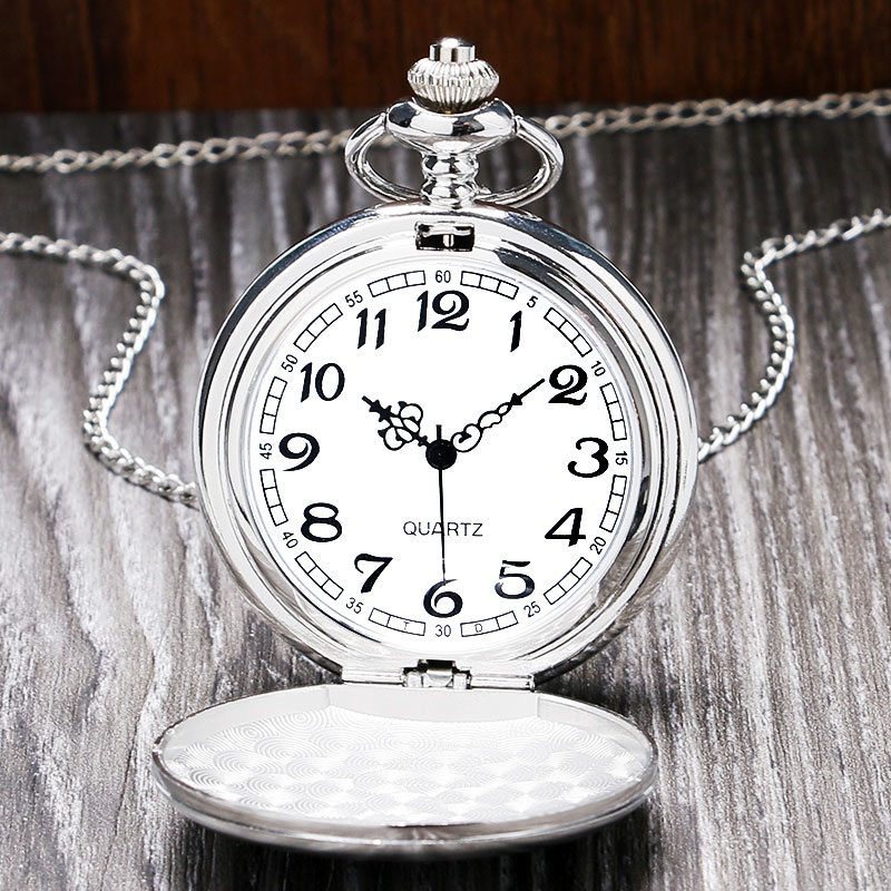 Silver Brushed Glossy Full Hunter Quartz Pocket Watch Classic Arabic Numerals Dial Pendant Antique Pocket Watches Necklace Chain