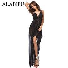 9721c627d ALABIFU largo verano vestido de las mujeres 2019 Sexy sin espalda Maxi  playa vestido Casual elegante