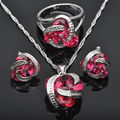 Shining Red Cubic Zircon 925 Sterling Silver For Women Pendant Necklace Earrings Rings Jewelry Set Free Shipping JS011
