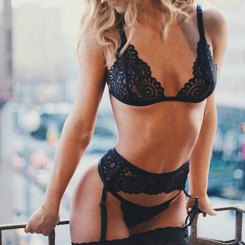 3pcs Set Women Transparent Bra Set + Garter Black Sexy Lingerie Lace Lenceria Plus Size Underwear