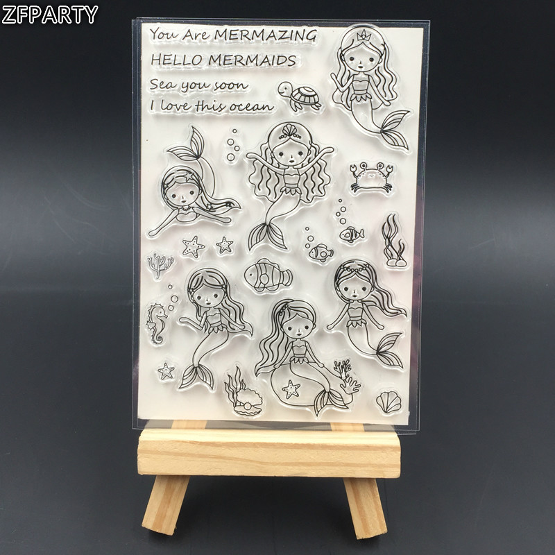 ZFPARTY Lovely Mermaid Transparent Clear Silicone Stamp/Seal for DIY scrapbooking/photo album Decorative clear stamp sheets about lovely baby design transparent clear silicone stamp seal for diy scrapbooking photo album clear stamp paper craft cl 052