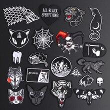 Изящный волк, леопард, паутина, нашивки, Черные Животные, Pokers, розовый волк, кошка, Аппликации, железная одежда с пулями, джинсовые эмблемы