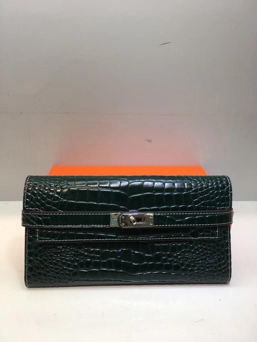 Kafunila marca de luxo designer de mulheres carteira de couro genuíno das mulheres embreagem bolsa de crocodilo padrão de moda bolsa de couro original