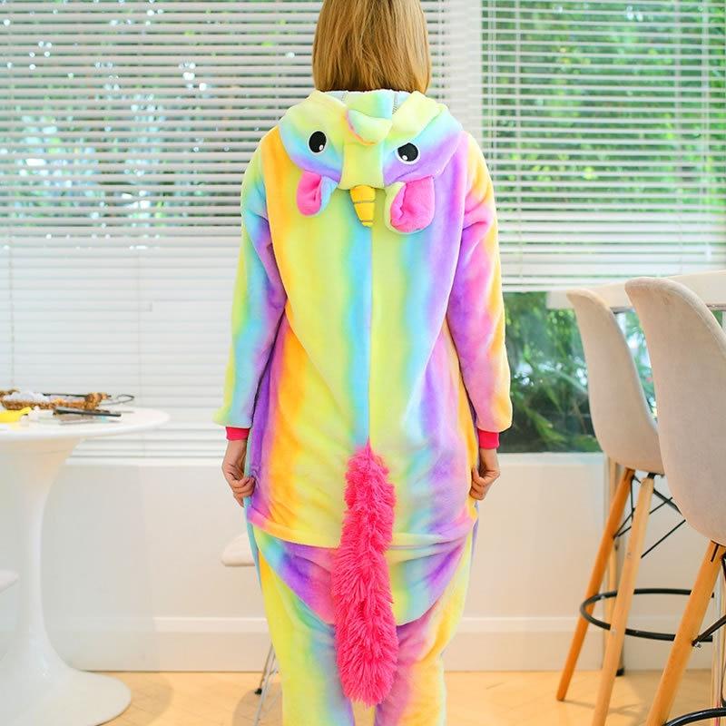 VEVEFHUANG Adult Winter Rainbow Stripe Unicorn Pajamas Unisex Animal Hooded Flannel Pajama Cute Cartoon Sleepwear For Women Men