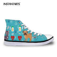 INSTANTARTS Cute Pug Dog Flats Shoes Women Classic High top Casual Shoes Veterinarian Print Lace Up Canvas Vulcanize Flats Shoes