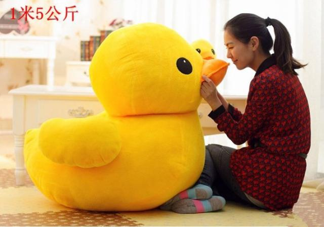 цена на larggest size 100cm cartoon yellow duck plush toy hugging pillow toy birthday gift h579