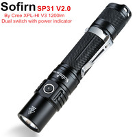 Sofirn SP31 V2.0 Powerful Tactical LED Flashlight 18650 Cree XPL HI 1200lm Torch Light Lamp with Dual Switch Power Indicator ATR