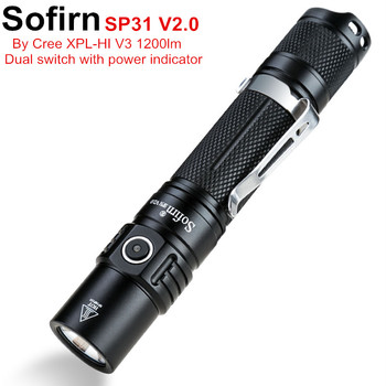 Sofirn SP31 V2.0 potężny latarka taktyczna LED 18650 Cree XPL HI 1200lm latarka lampa światła z podwójnym przełącznikiem wskaźnik zasilania ATR