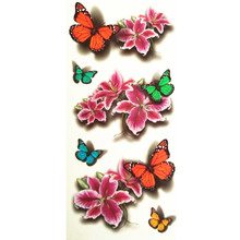 19X9CM 3D Lifelike Pretty Temporary Tattoo Butterfly With Pink Flower