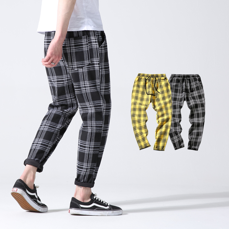 Spring Autumn Plaid Casual Trousers Men Cotton Slim Fit Joggers Men Skinny Grid Jogger Pants Men