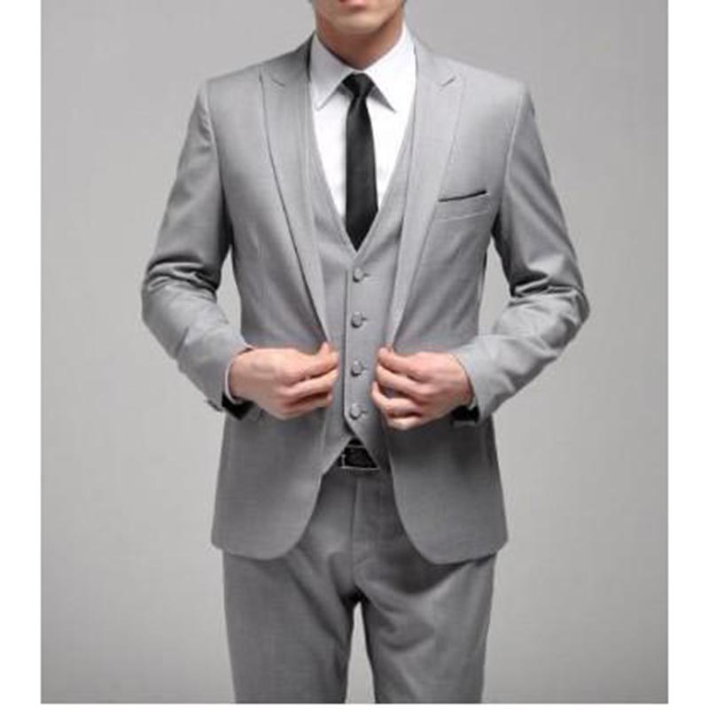 Wedding Suits For Men Slim Fit Grey Custom Made Notch Lapel Groom Tuxedo Bride Groom Mens Suit Three Pieces (Jacket+Pants+vest )