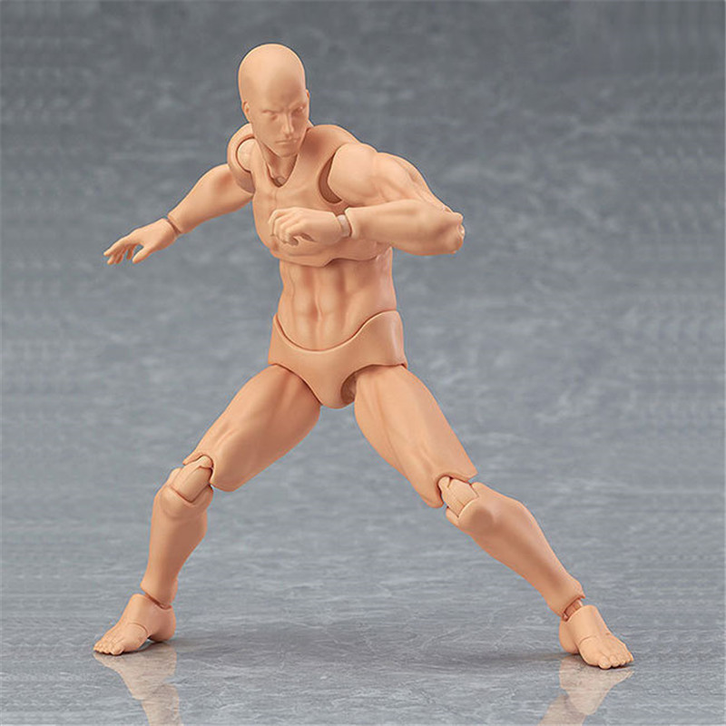 13 cm Figma Archetype He She PVC Action Figure Human Body Joints Male Female Nude Movable Dolls Anime Models Collections
