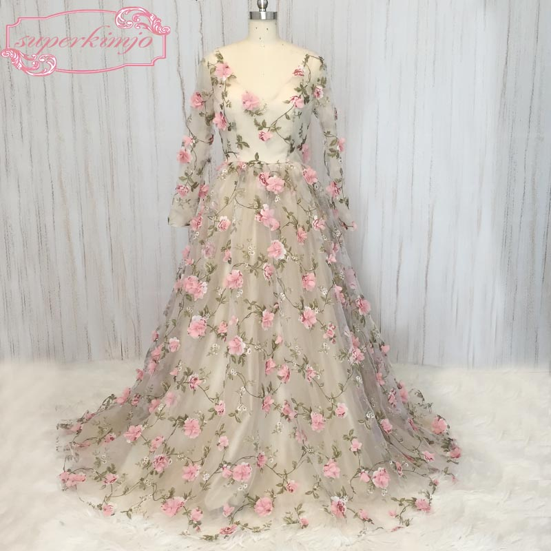 SuperKimJo   prom     dresses   floor length v neck lace hand made flowers 3D long transparent sleeve a line floor length evening   dress