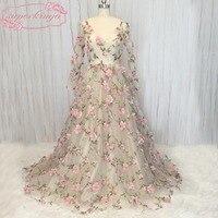 Superkimjo платья для выпускного вечера длина до пола с v образным вырезом кружева ручной работы Цветы 3D длинные прозрачные рукава линия Длина до