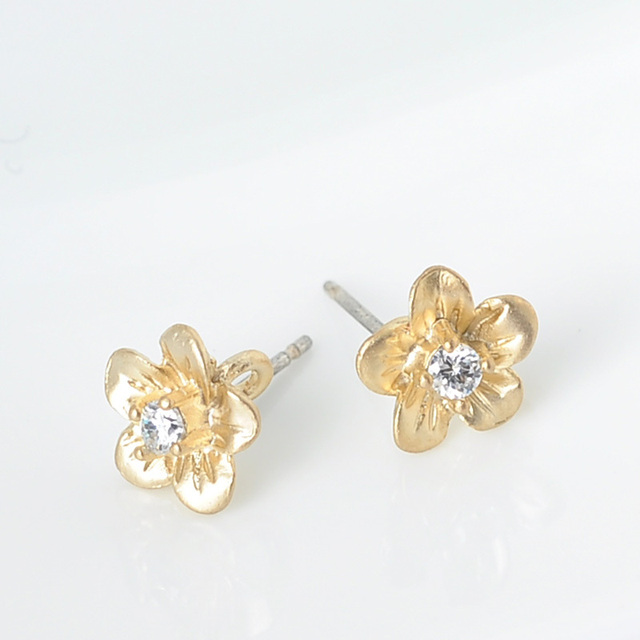 Whole Flower Gold Stud Earring For Gift Diy Stone Jewelry Making 50pcs