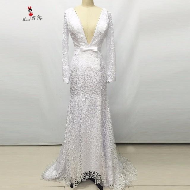 Sexy Frauen Hochzeitskleid Backless Lange Hülsen spitze Brautkleider ...