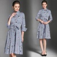 New Fashion Women dresslt Print Tide 3 D Crane Dresses Light Blue 7315