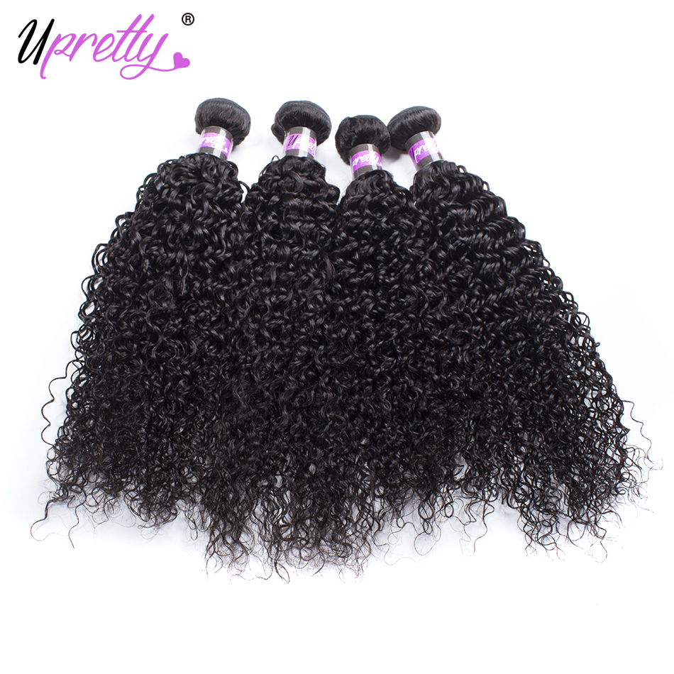 Upretty Hair Peruvian Curly Hair 4 Bundles Unprocessed Peruvian Human Hair Extensions Curly Weave Bundles Natural Black Color