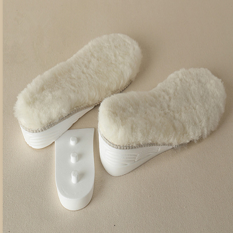 Height Increase Insole Winter Insoles Sheepskin Thick Wool Warm Shoe Pad Palmilha Altura Accessoire Chaussure Semelles Confort