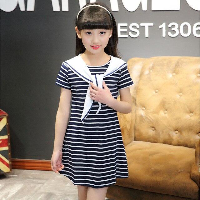 49b1cc9b3948ec Fashion girls cotton casual short sleeved crew neck striped t-shirt girls  cute dress lovely naval style kids clothing 17J701