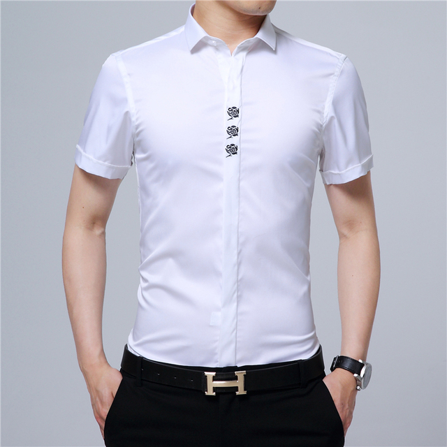 2017 Fashion Short Sleeve Shirts Men Brand Office Solid Color Embroidery Flowers Smooth Cloth Slim Fit