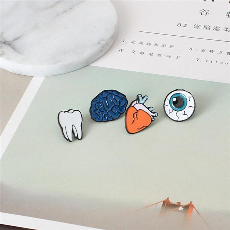 Cartoon Brooch Pins Human Organs Medical Brain Eye Heart Enamel Lapel Pins Badge for Women Girls Jewelry Needle Pin Collar Z5
