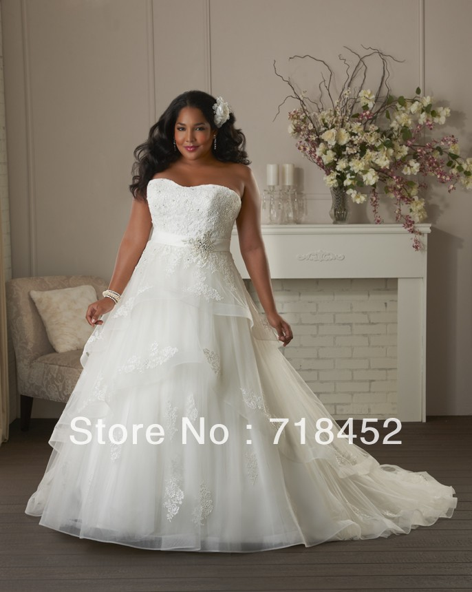 22c6461bc8c Size 28 Wedding Dress Plus Size Appliques Beading Organza Sweetheart off  the Shoulder Tiered Free Shipping NW286-in Wedding Dresses from Weddings    Events ...