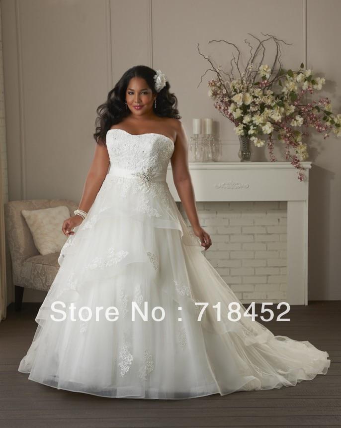 Size 28 Wedding Dress Plus Size Appliques Beading Organza Sweetheart ...
