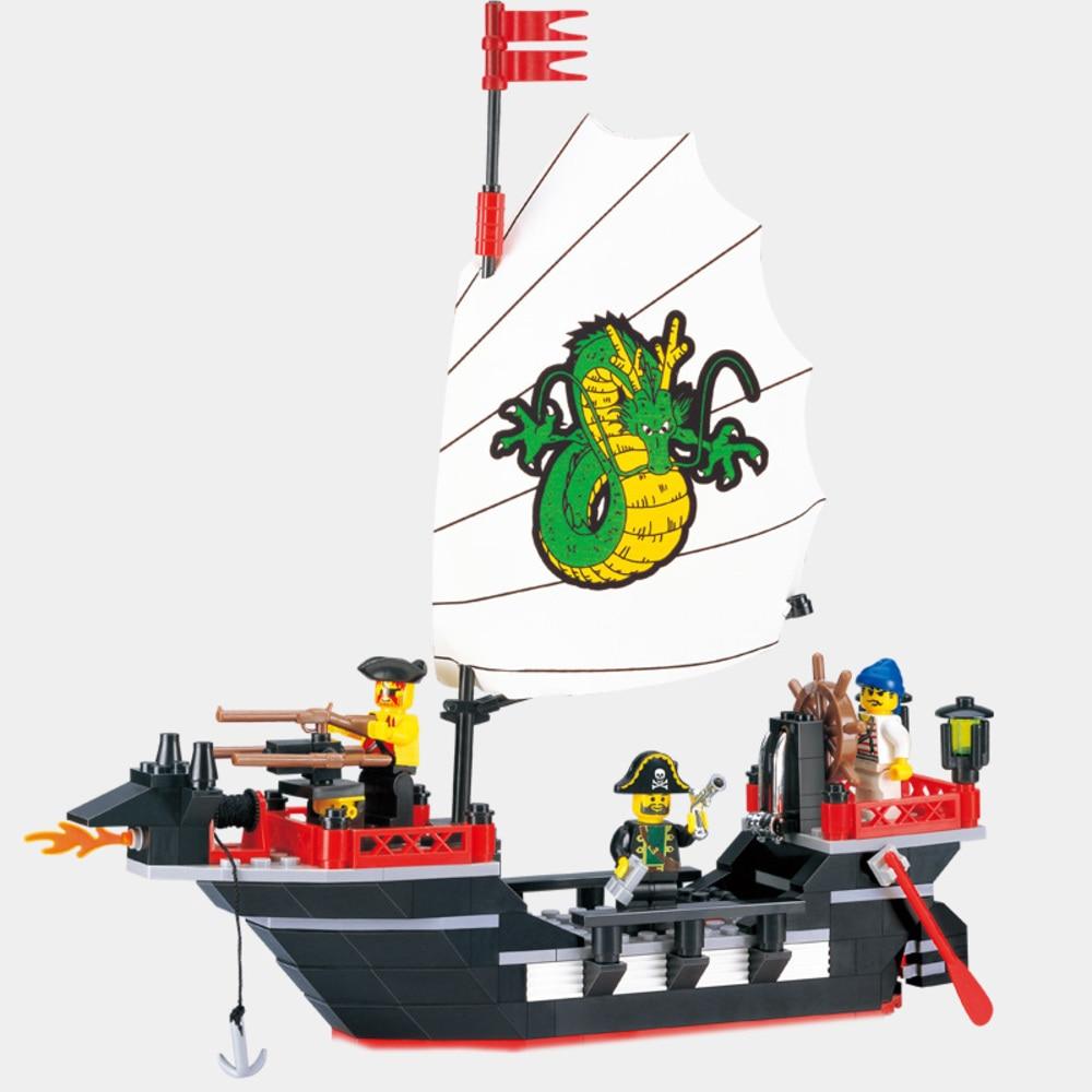 Enlighten Pirate Series Pirate Ship Dragon Boat Model Building Blocks Sets 211PCS Educational DIY Blocks Playmobil Toys