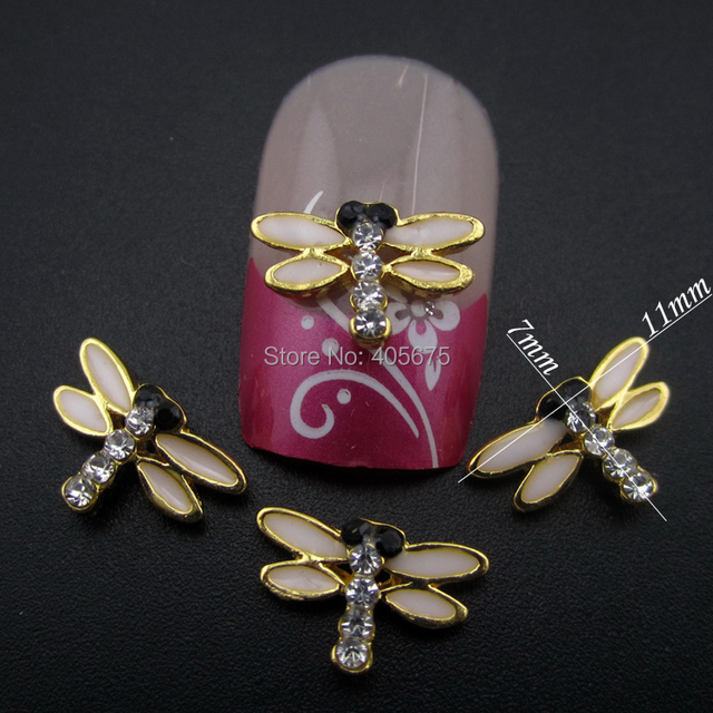 10pcs Gold dragonfly 3d alloy manicure styling nail art tools DIY ...