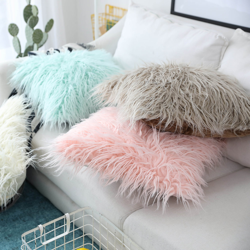 Cute Nordic Furry Plush Decor Cushion Cover for Sofa Hot Sale in Cushion Cover from Home Garden