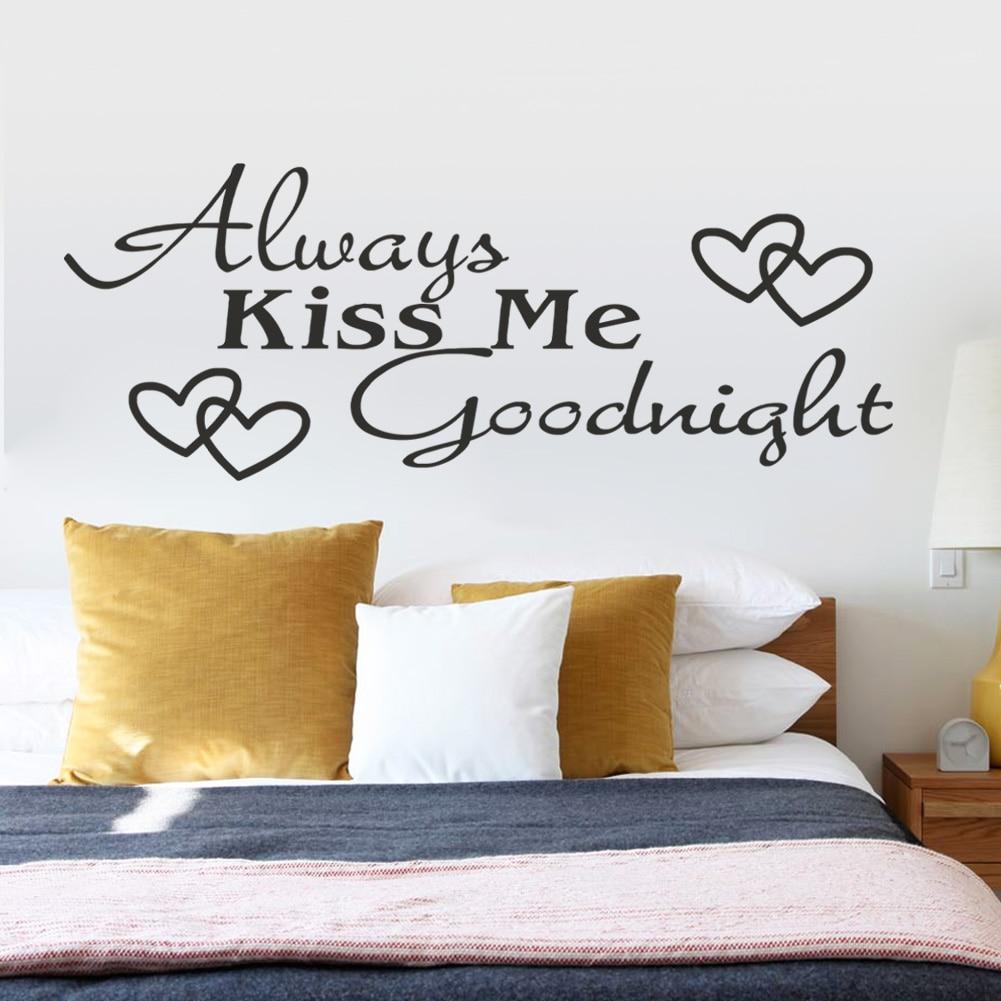 US $2.24 19% di SCONTO|Bacio sempre me buonanotte cita adesivi murali  camera da letto decorazioni 8053. vinile diy adesivo de parede decalcomanie  ...