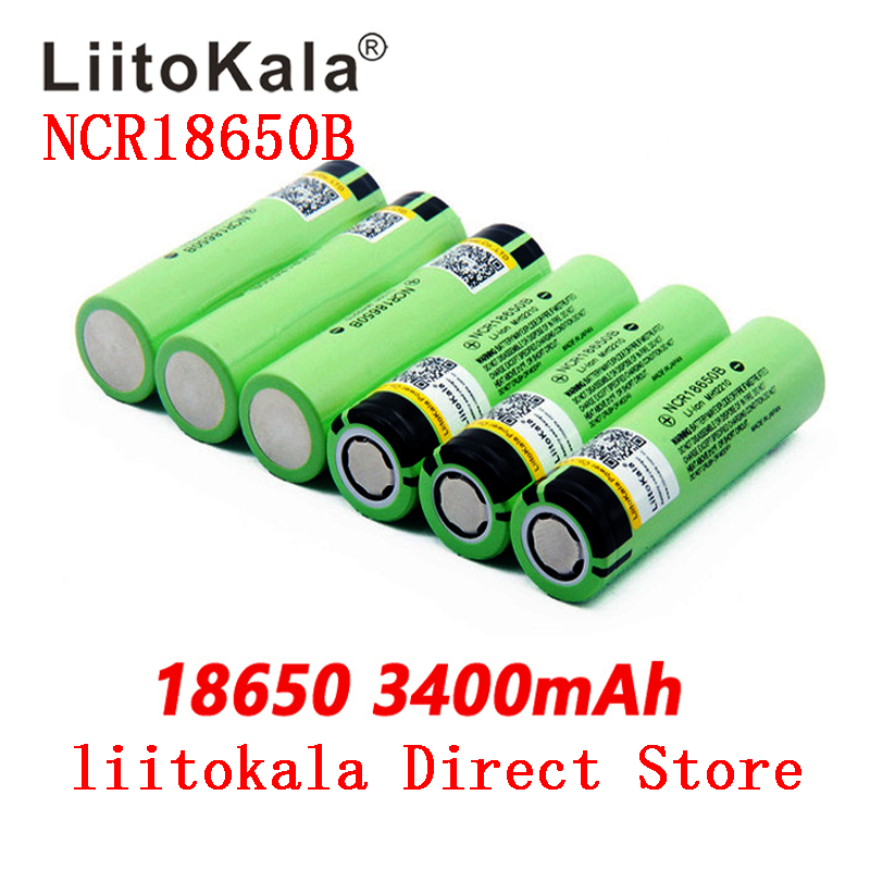 2019 LiitoKala new original <font><b>NCR18650B</b></font> 34B 3.7V <font><b>18650</b></font> 3400mAh rechargeable lithium battery flashlight battery image