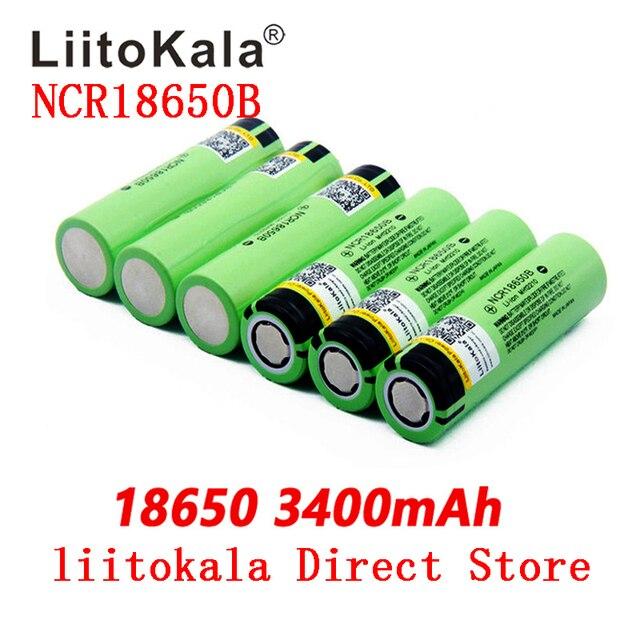 LiitoKala بطارية ليثيوم قابلة لإعادة الشحن ، مصباح يدوي ، NCR18650B 34B 3.7V 18650 3400mAh