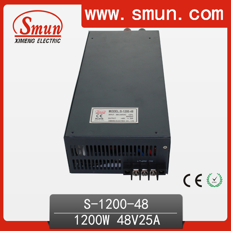 1200W 48V 25A Single Output DC Switching Power Supply Used In LED Strip Industrial Control Transformer S-1200-48 single output uninterruptible adjustable 24v 150w switching power supply unit 110v 240vac to dc smps for led strip light cnc