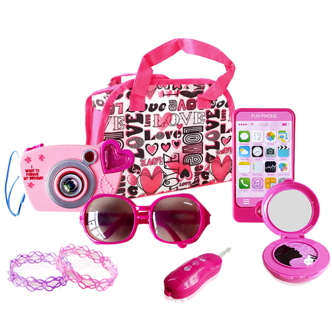 Pretend Play Camera Ornament Kit Little Girls Camera Jewelry Decoration Toy Set Cosmetics Makeup Toys For Girl Kids 2019