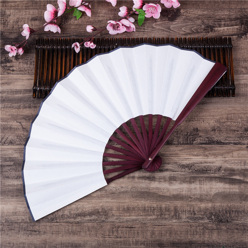1pcs Chinese Japanese DIY Plain Color Bamboo Large Rave Folding Hand Fan Event Party Supplies For Men/Women