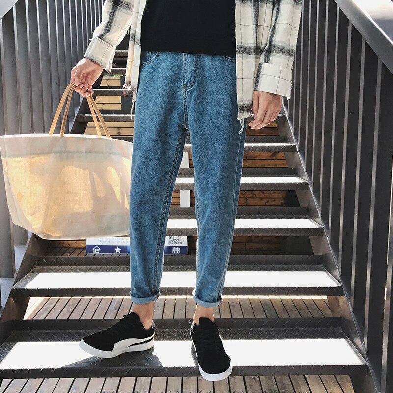 Summer New Men's Blue   Jeans   Slim Fit Feet Casual Fashion Simple Wild Adolescent Harem Pants Trend Streetwear Denim Trousers Man